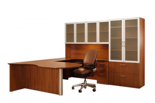 Veneer Desk Suite - Glass Doors