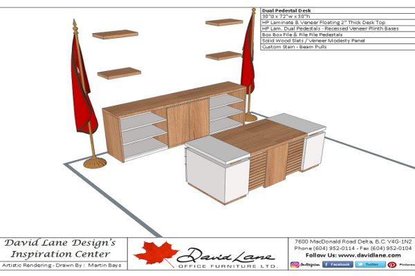 Stylish Modern Veneer & Laminate Desk Suite