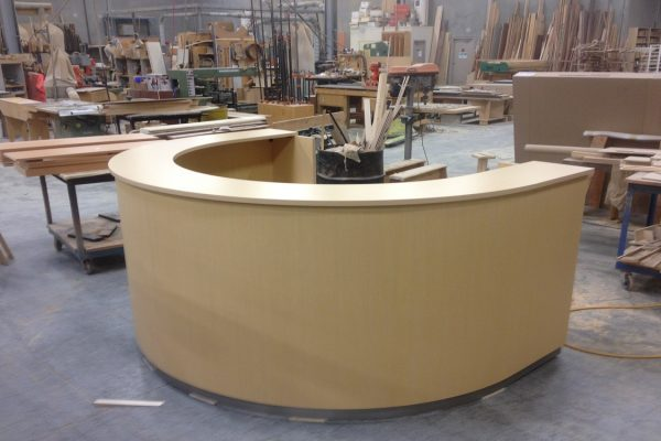 Curved Veneer Reception Desk