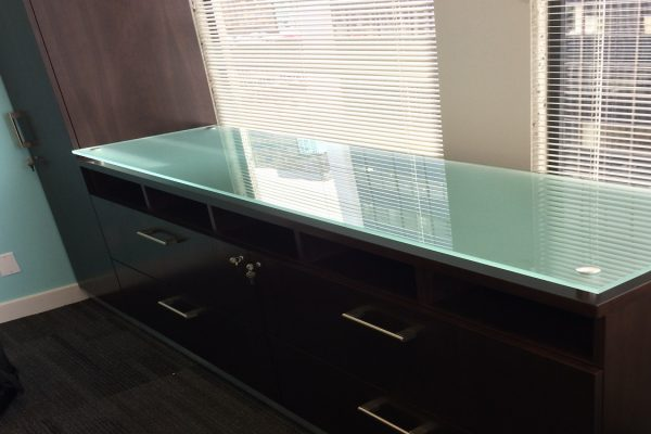Floating Glass Top Credenza & Wardrobe