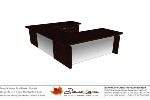 Floating Top Desk With Satin Chrome Modesty Panels