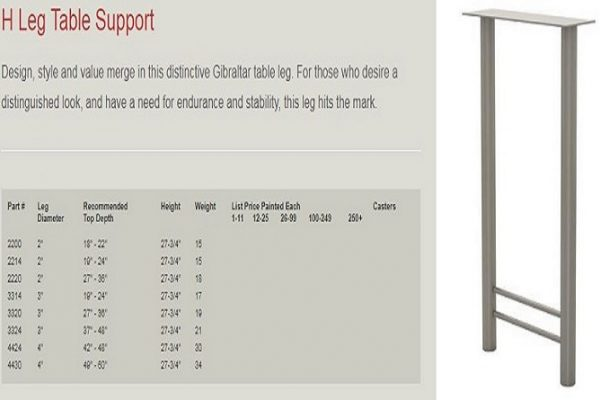 GB - H Leg Table Support