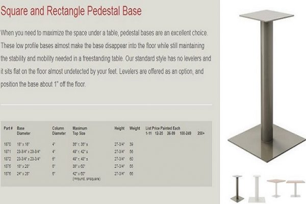 GB - Pedestal Base Square & Rectangular
