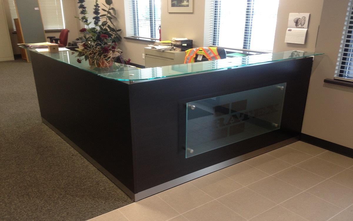 Glass Logo Transaction Top Reception Desk