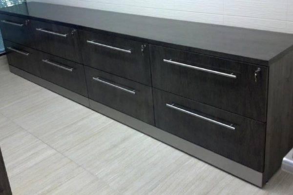 Veneer Credenza With Satin Chrome Kick