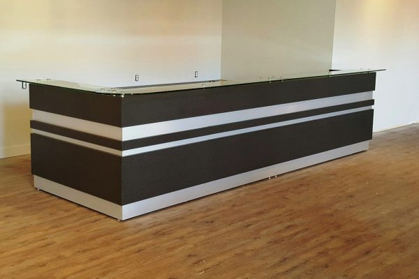 Reception Desk - Floating Glass & Satin Chrome Inset