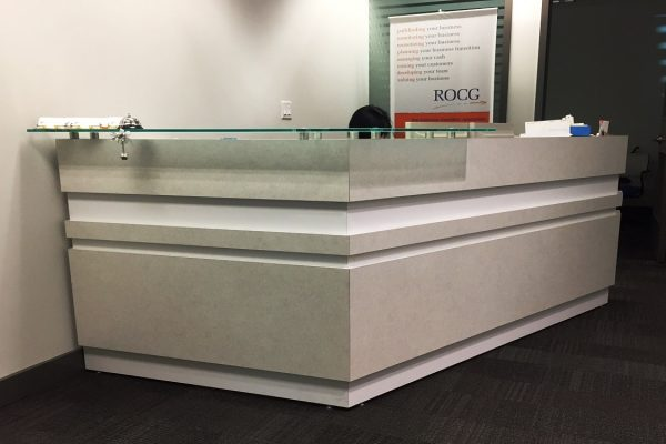 Laminate Reception With White Inlay Detail