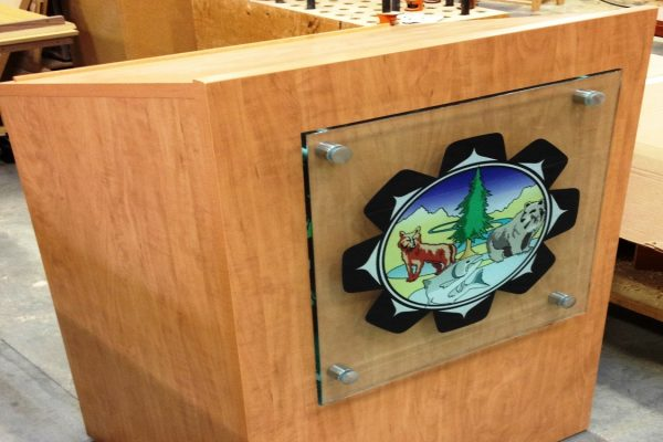 Lectern With Vinyl Logoing On Glass