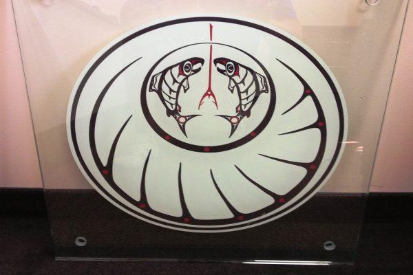 Vinyl Logoing On Backside Of Glass