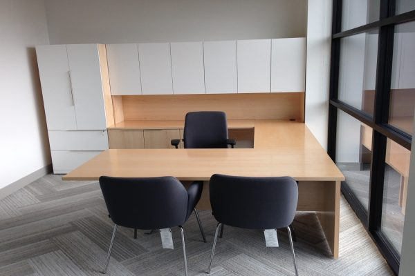 Maple Desk With Dual Height Hutch