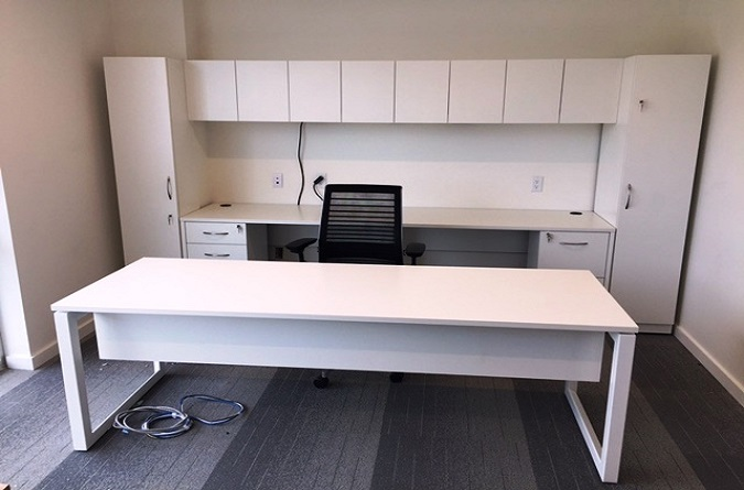 White Desk With Metal Box Bases