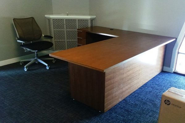 1/4 Cut Walnut Veneer Desk