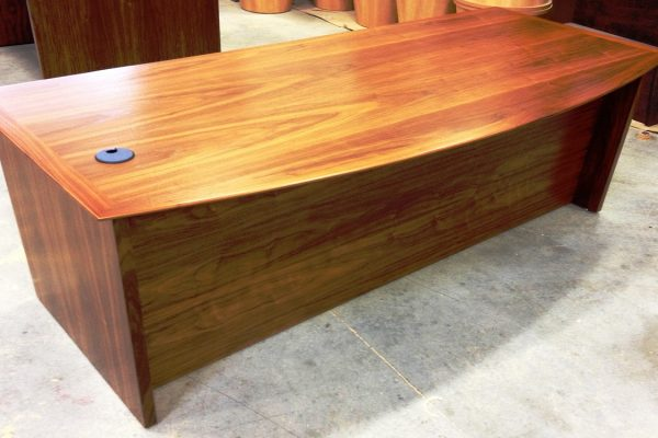 Bow Front Walnut Veneer Desk