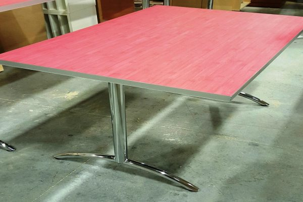 Red Bamboo Table With T Legs