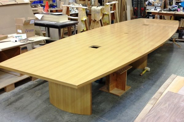 Rift Cut White Oak Boat Shaped Table