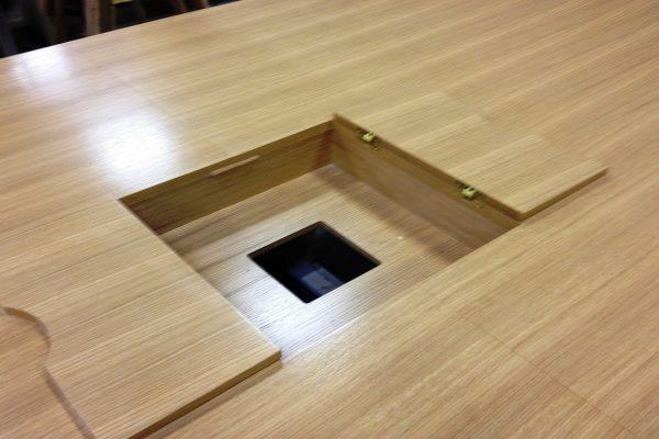 Grain Matched Table Flip Open Access Doors Open