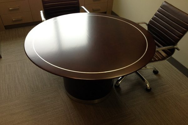 Round Table With Satin Chrome Inlay