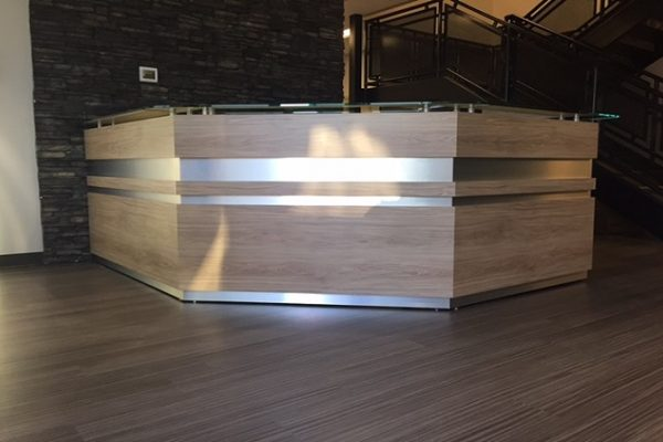 Satin Chrome InLay Corner Reception Desk