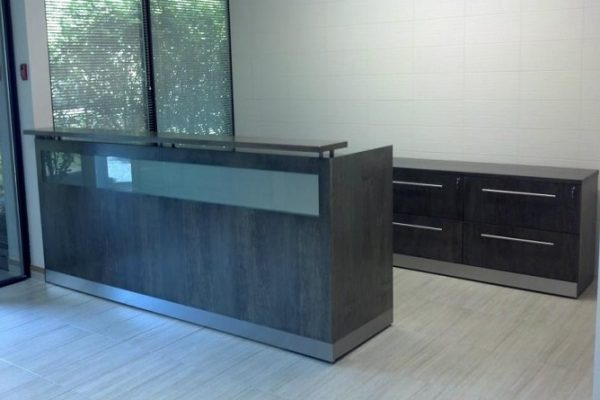 Veneer Glass Panel Reception Desk