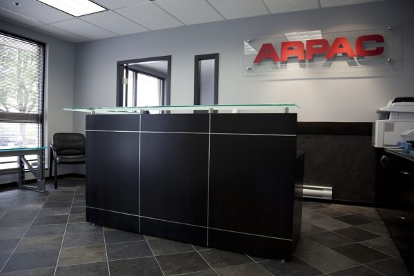 Veneer Reception Desk With Satin Inlay