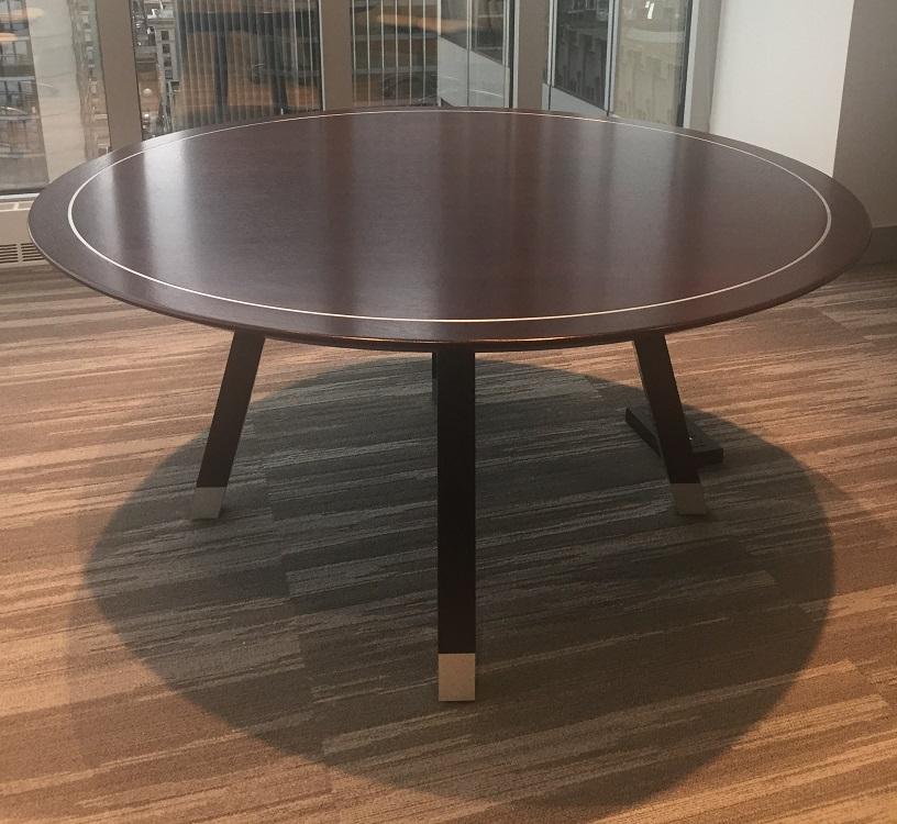 Stylish Veneer Table   Solid Wood Edge U0026 Satin Chrome Inlay