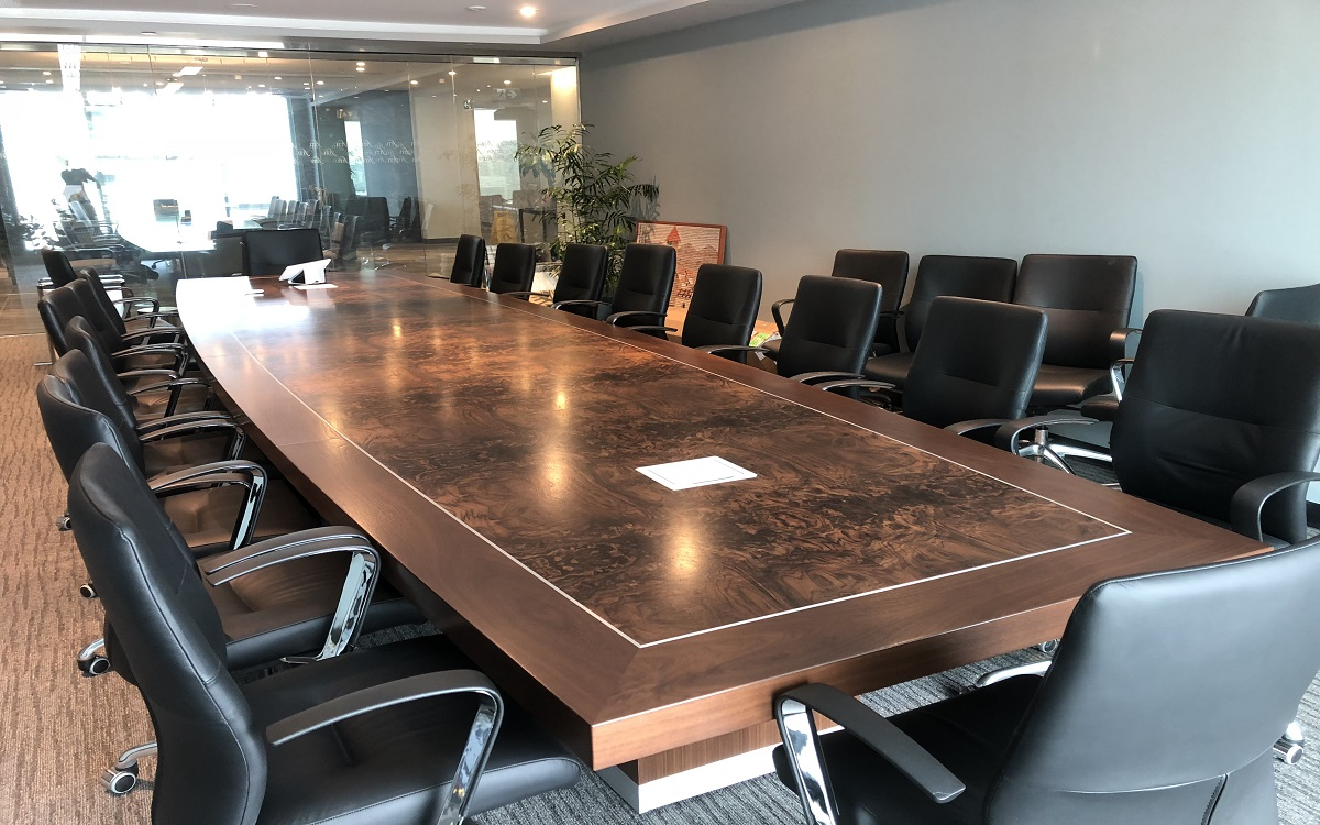 Stunning Walnut Burl Boardroom Table Featuring Satin Chrome Inlay 6 Wide By 3