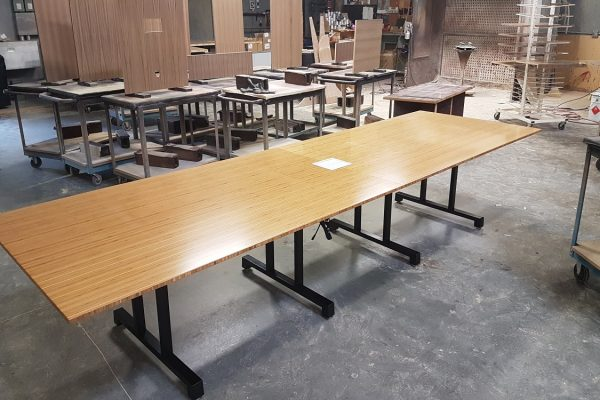 Bamboo Boardroom Table With Dual T Post Metal Bases