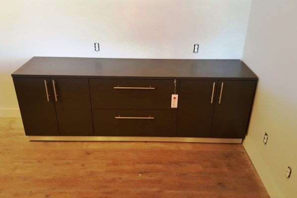 Laminate Credenza With Satin Chrome Kick