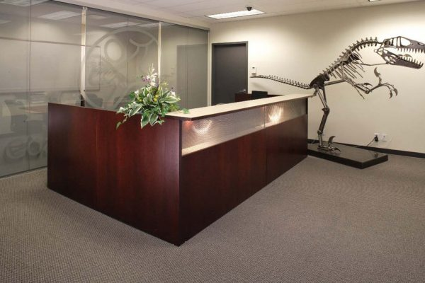 Reception Desk - Back Lighted Mesh Grill