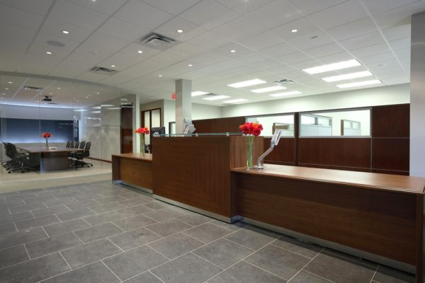 Walnut Veneer Reception Counter