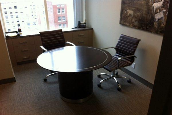 Round Table - Drum Base & Satin Chrome Inlay