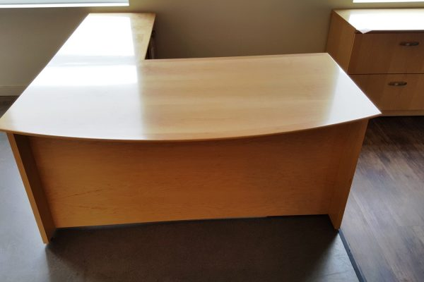 Bow Front Veneer Desk & Return
