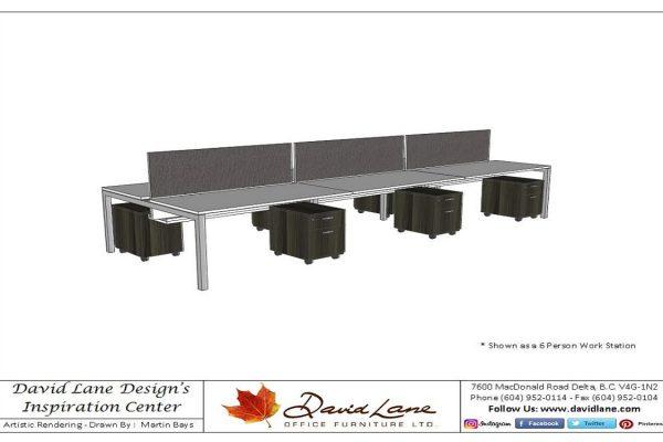 Multi Person Expandable Metal Bench Desk