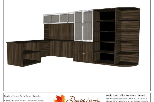 Stylish Desk & Wall Unit With Glass Doors