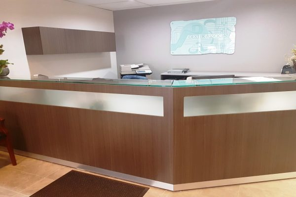 Glass Front Reception Desk
