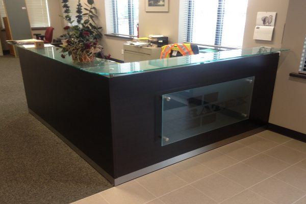 Glass Logo & Transaction Top Reception Desk