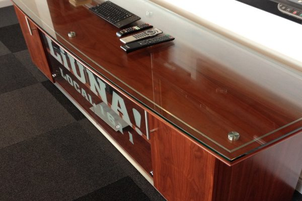 Credenza - Floating Glass Top / Satin Chrome Inlay