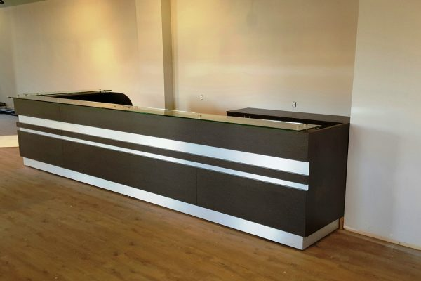 Reception Desk - Floating Glass & Satin Chrome Inset