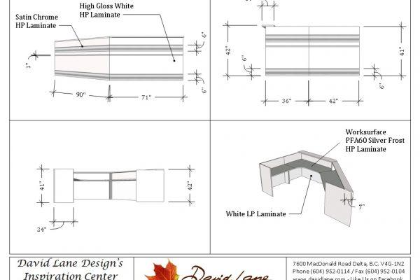 White Reception Desk / Satin Chrome Stripes
