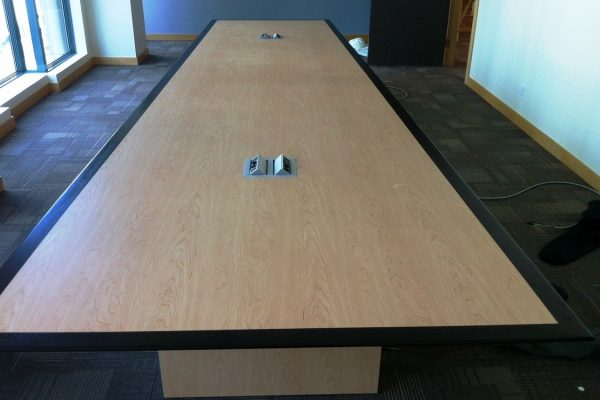 HP Laminate Table With Contrasting Wood Edge