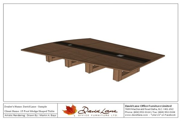 Wedge Table With Center Inlay