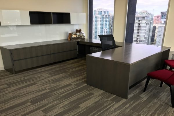 Veneer Desk Suite - Back Painted Glass Doors