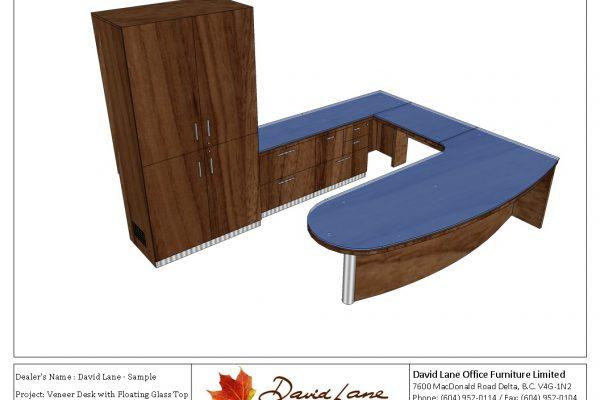Veneer Desk With Floating Glass Top