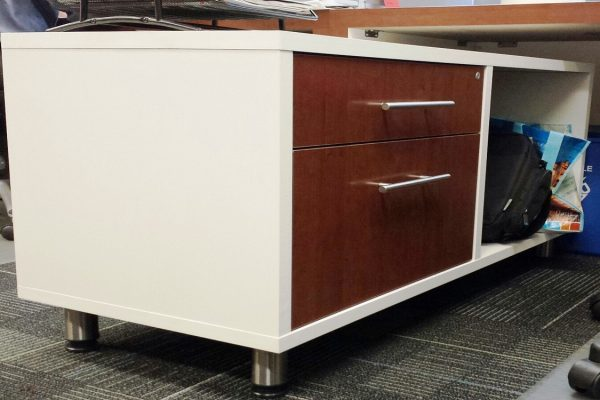White Laminate Bench System Credenza