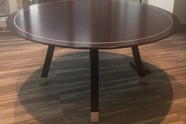 Stylish Veneer Table - Solid Wood Edge & Satin Chrome Inlay