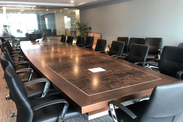 "Stunning Walnut Burl Boardroom Table Featuring Satin Chrome Inlay, 6""wide By 3"" Thick Wood Edge With Full Skirted Base"