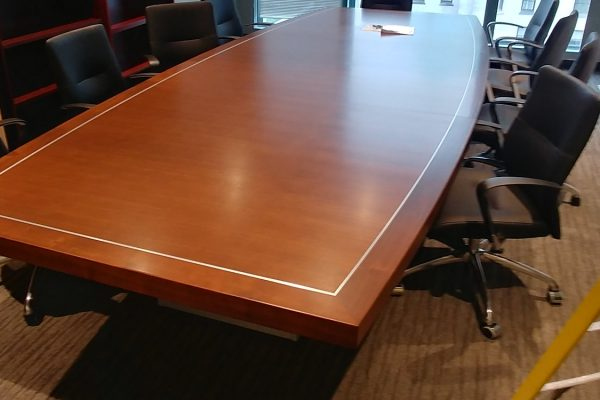 "Stunning 1/4 Cut Walnut Boardroom Table Featuring Satin Chrome Inlay, 3""wide By 3"" Thick Wood Edge With Full Skirted Base"