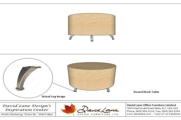 Round Block Table - HP Laminate Or Veneer