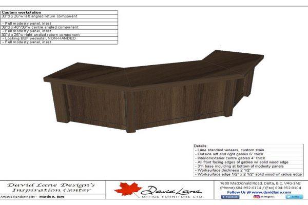 Custom Desk With Post Columns & Recessed Panels