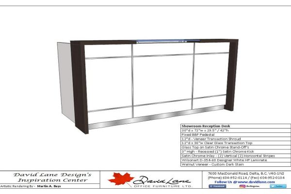 Veneer / Laminate Reception With Satin Chrome Inlay And Floating Glass Transaction Top